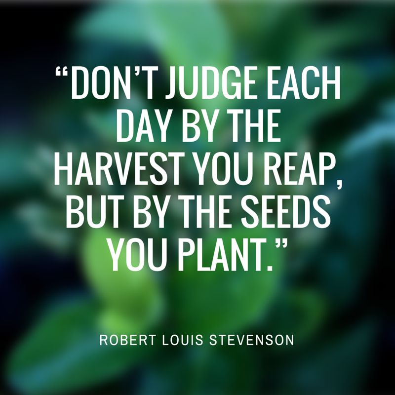 Don't judge each day by the harvest you reap but by the seeds you plant
