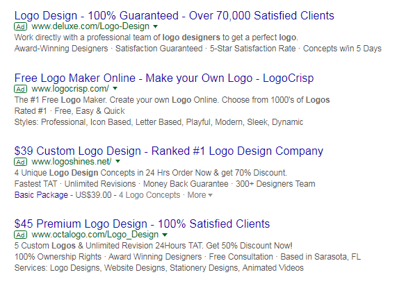 The top 4 ads for the keyword 'logo design'