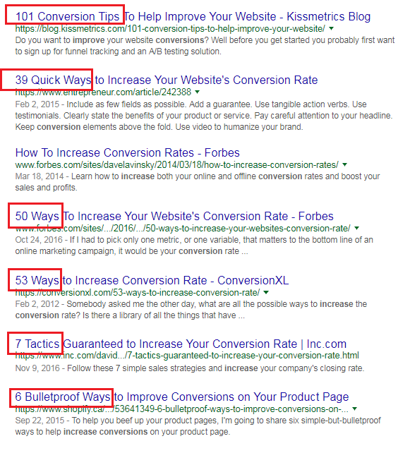 A Search Engine Results Page showing the use of numbers in the page titles. Example: 50 Ways to Boost Your Conversion Rate