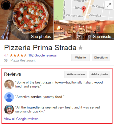 Customer reviews are used as a Google Rich Snippet on search results