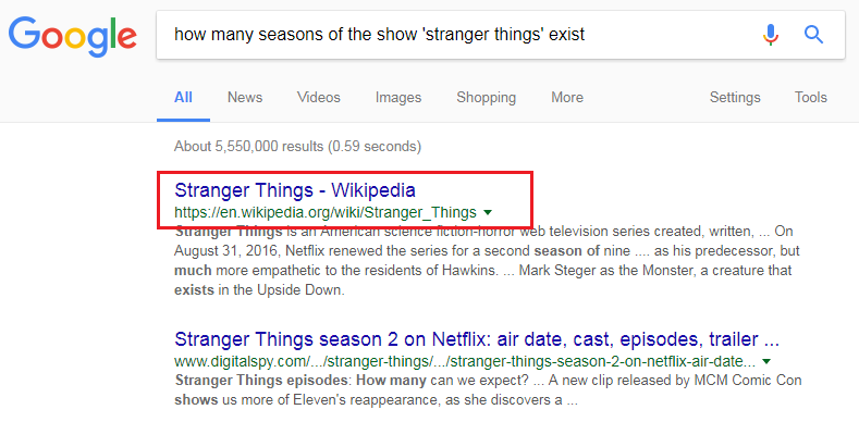 "A web query for the string 'how many seasons of ""stranger things"" exist' returns Wikipedia, a highly trusted website, as its first search result"