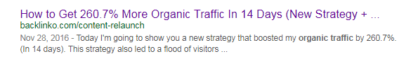 "How to Get 260% More Organic Traffic in 14 Days"" is another example of a highly specific page title."
