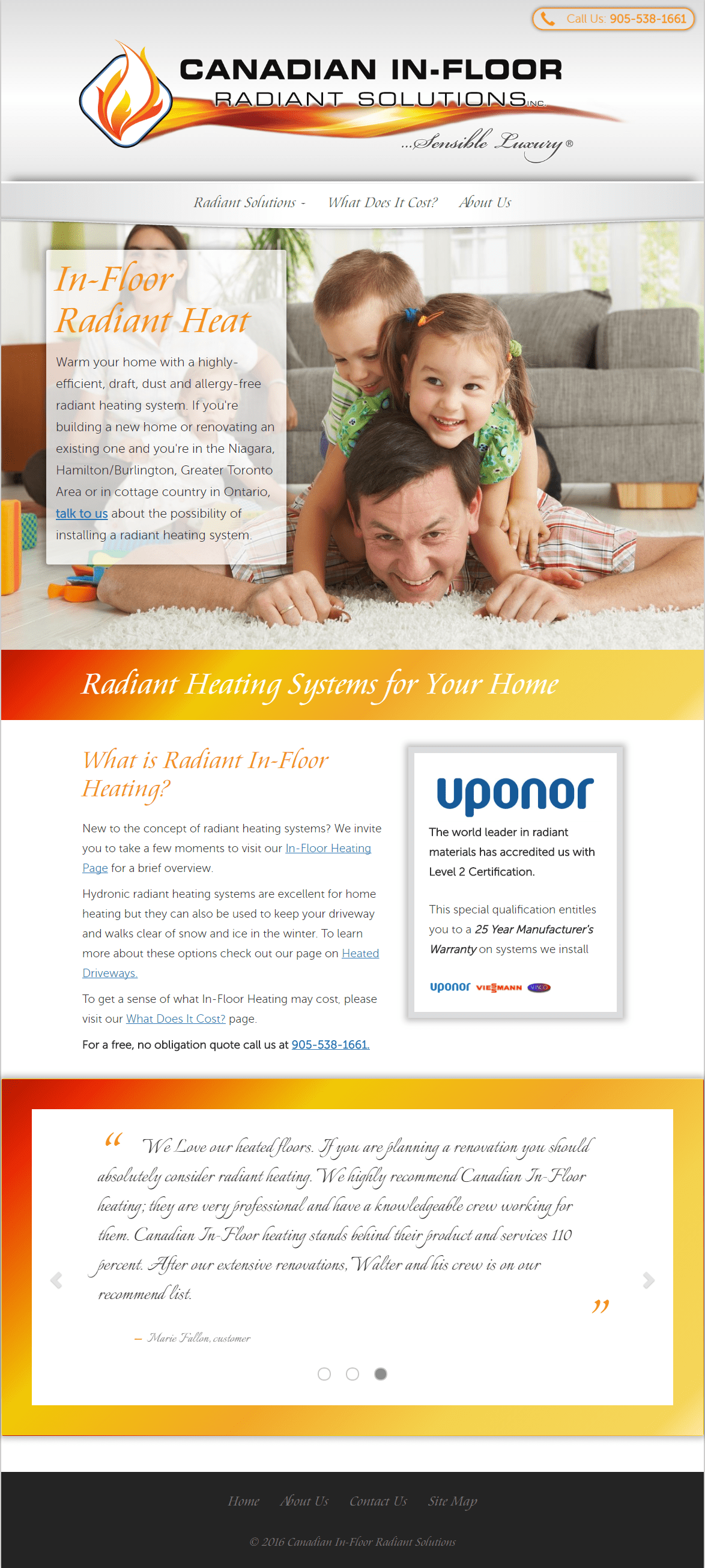 Full-page image of Canadian In-floor Radiant Solutions website