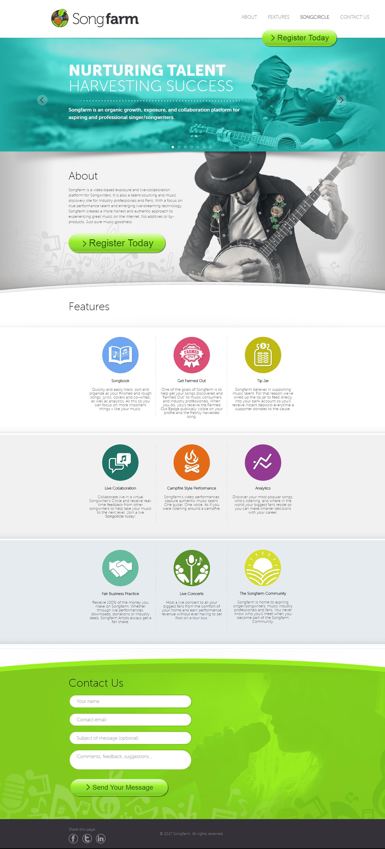 Fullscreen image of Songfarm website