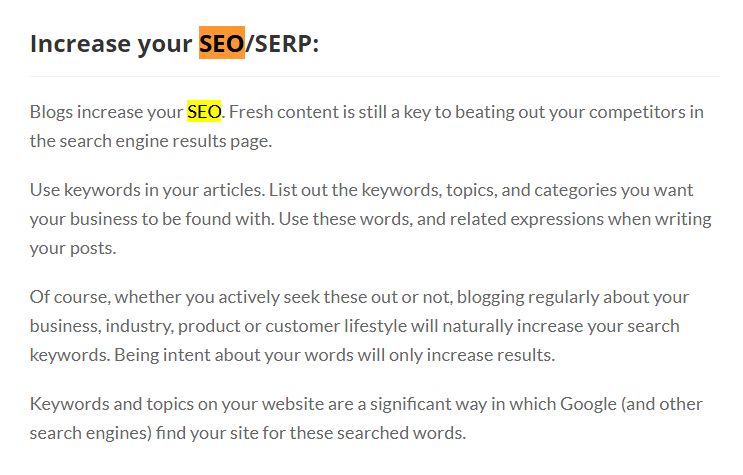 A section of page with my keyword as the heading and a supporting paragraph with no anchor links in the text.