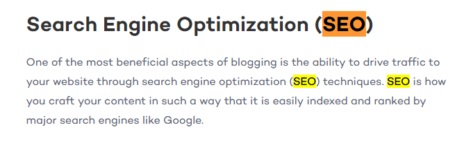 A section of content with the heading 'Search Engine Optimization' and a supporting paragraph about the benefits of blogging on SEO. In this section of text, there are no anchor links.