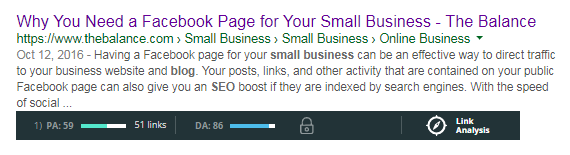 The page title reads: Why you need a Facebook Page for your small business by The Balance