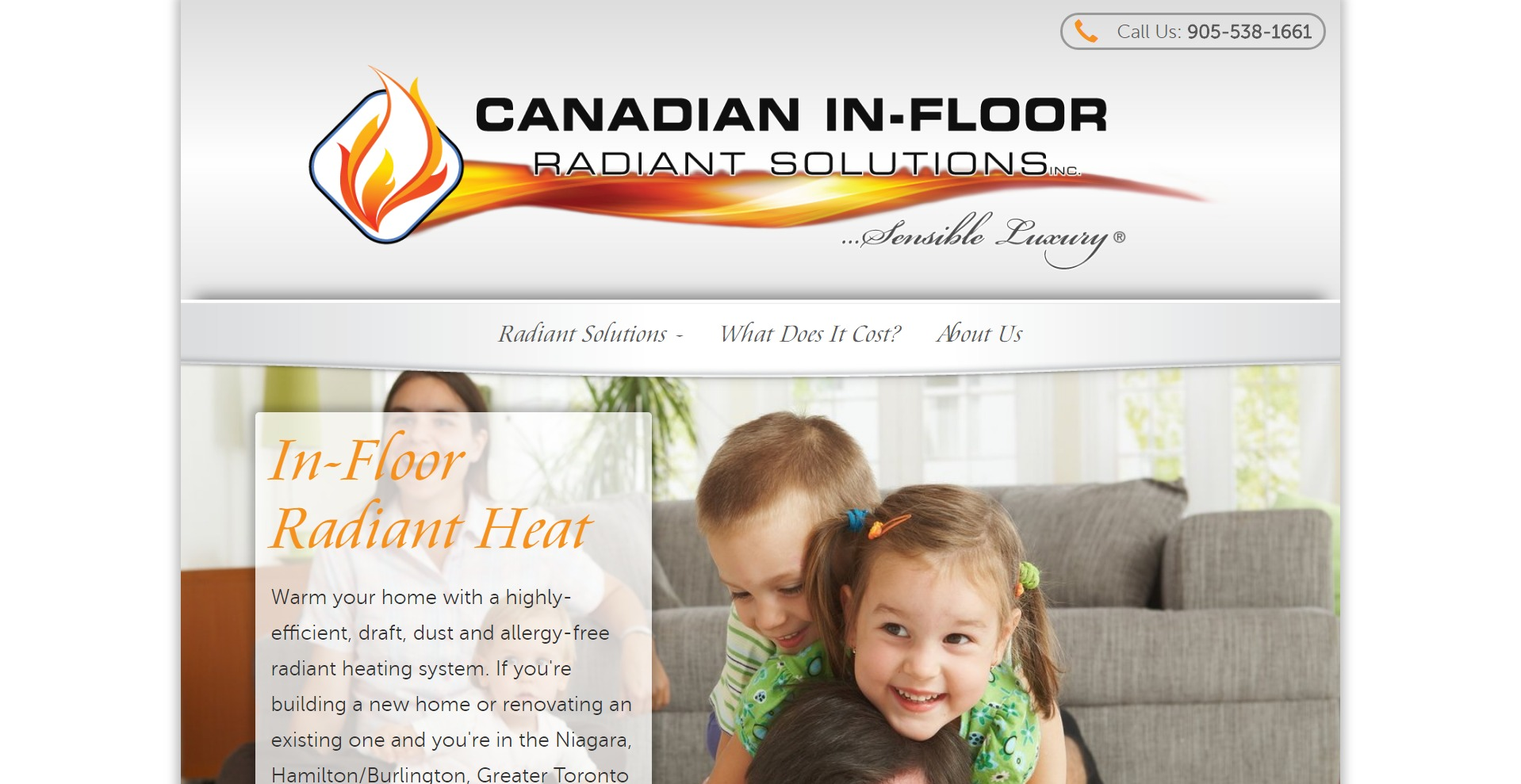 Screenshot of Canadian In-Floor Radiant Heating website