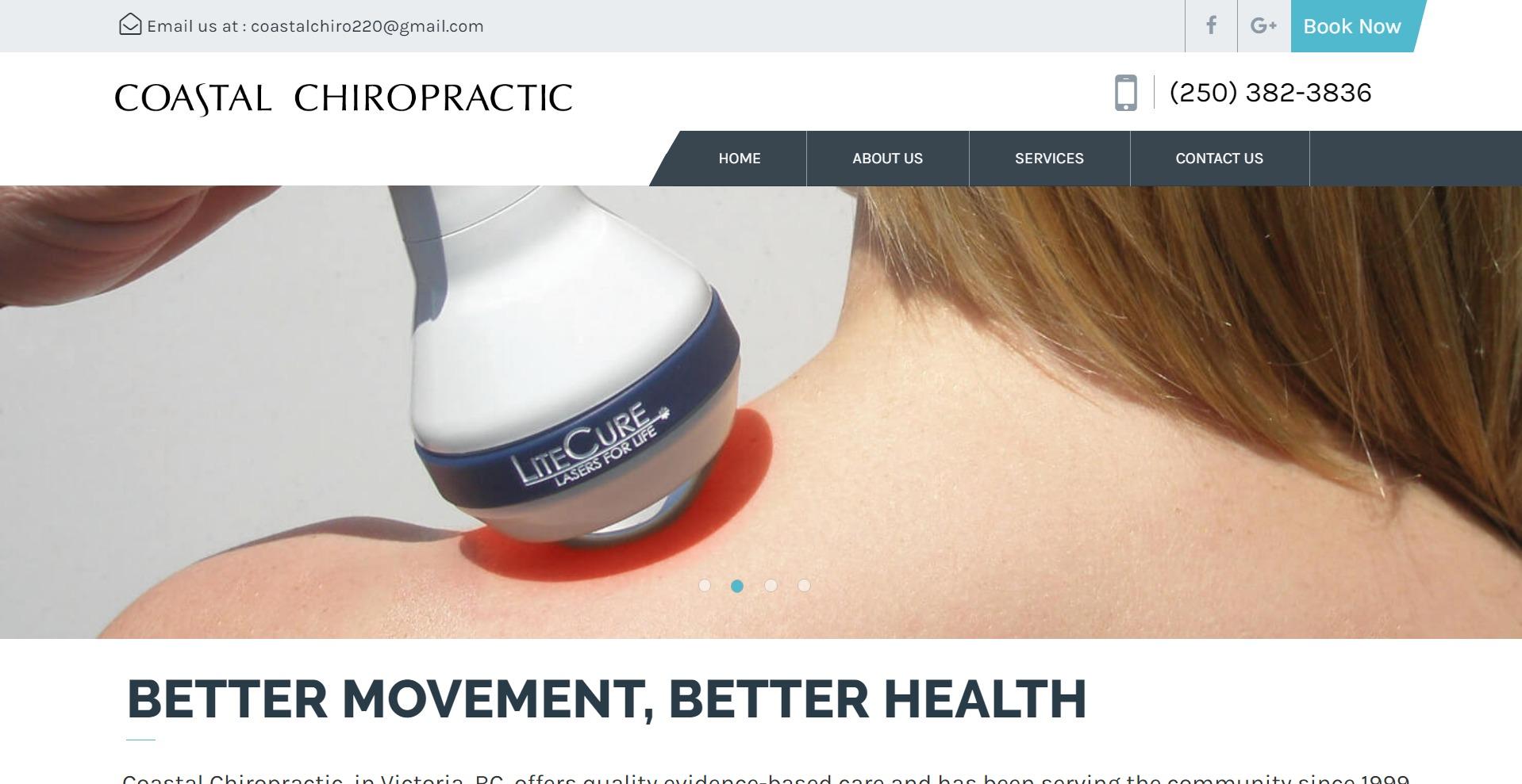 Screenshot of Coastal Chiropractic website
