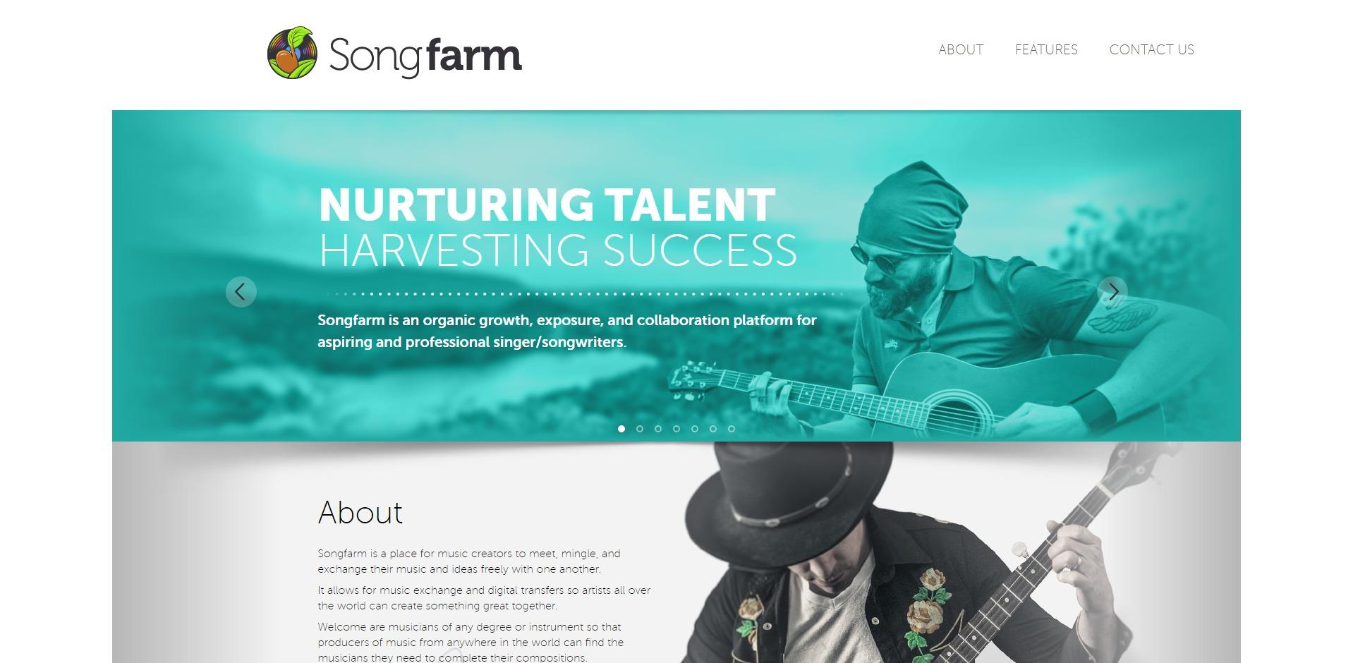 Screenshot of Songfarm website