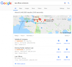 A snapshot of Google's local-pack for lawyers in Victoria BC